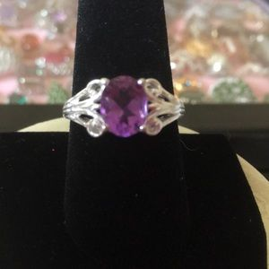 Amethyst oval ring in 925 sterling silver size 9